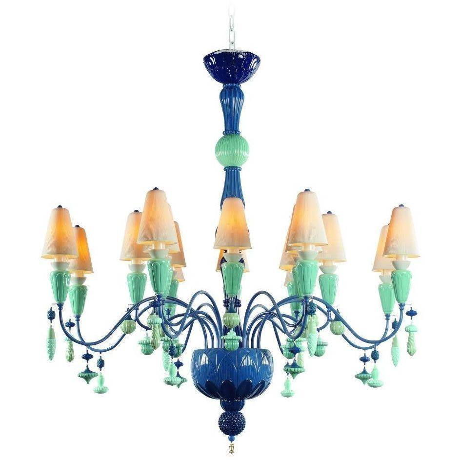 Lladro Ivy & Seed 16 Light Ocean Chandelier 01023865