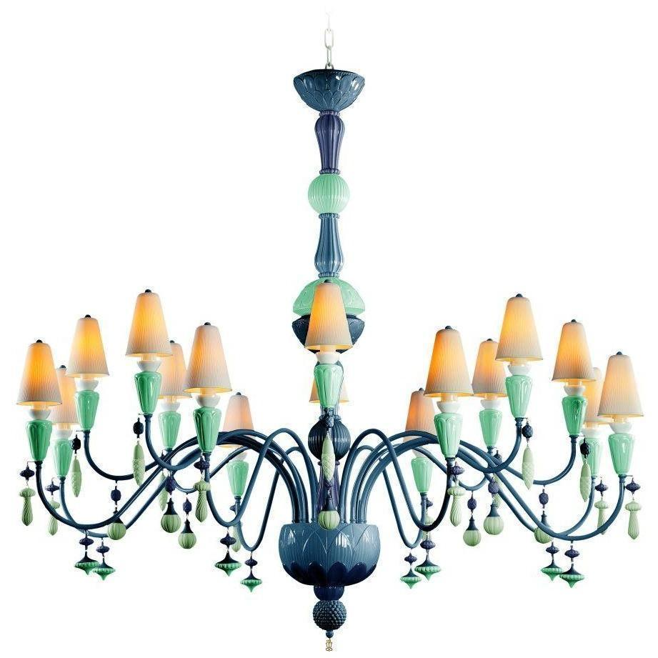 Lladro Ivy & Seed 16 Light Ocean Chandelier 01023883