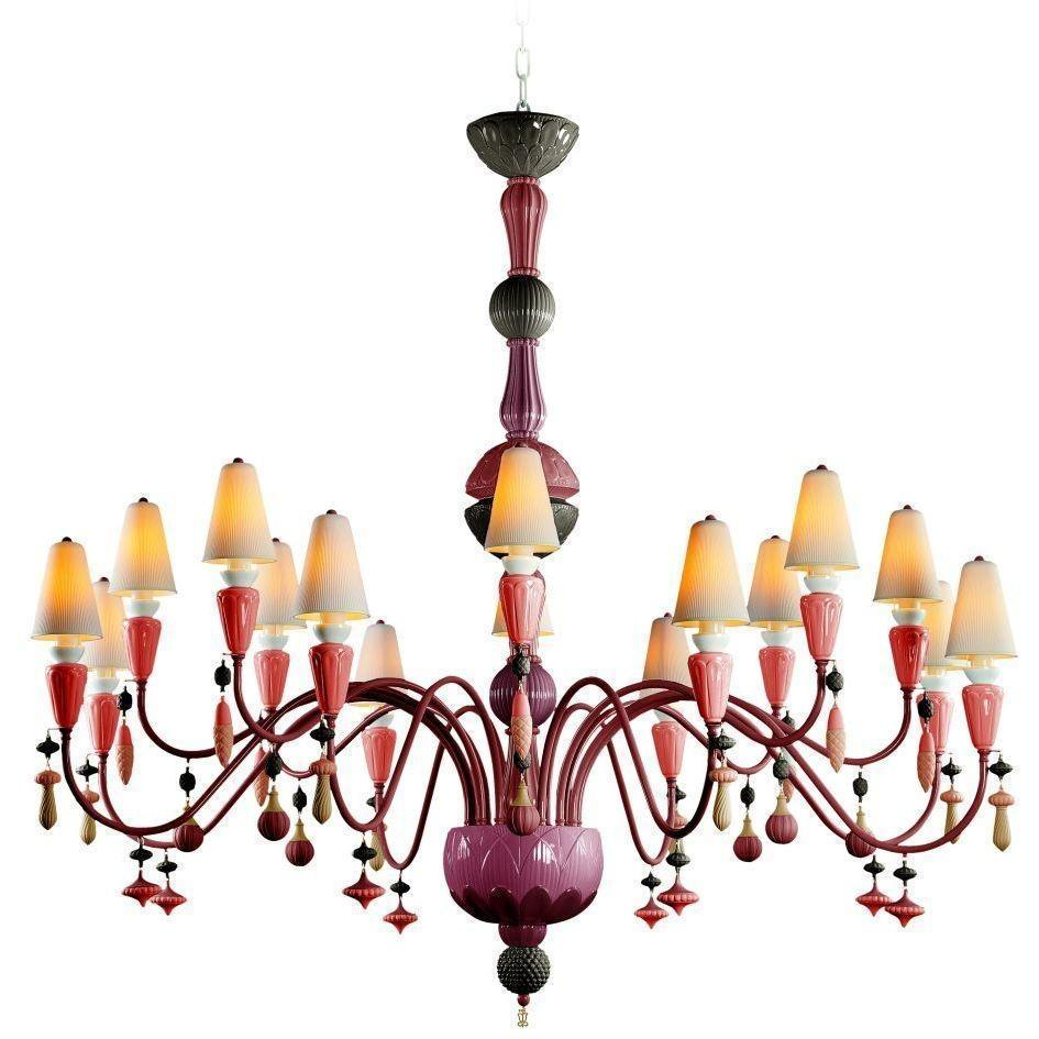 Lladro Ivy & Seed 16 Light Red Coral Chandelier 01023880