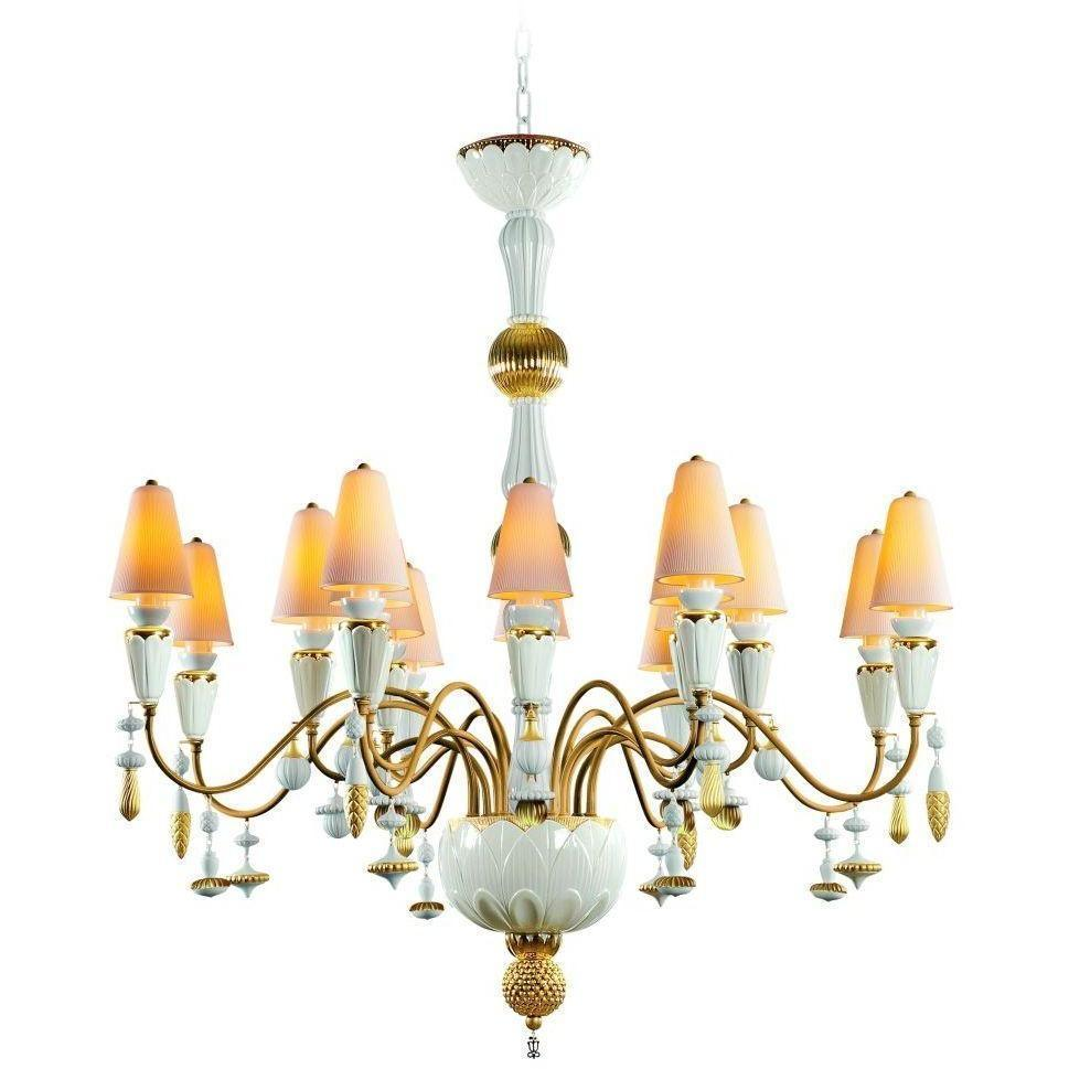Lladro Ivy & Seed 16 Light White And Gold Chandelier 01023856