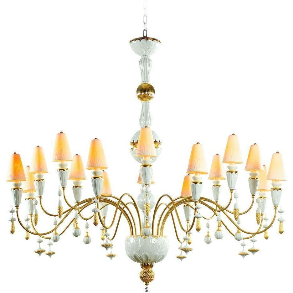 Lladro Ivy & Seed 16 Light White And Gold Chandelier 01023874