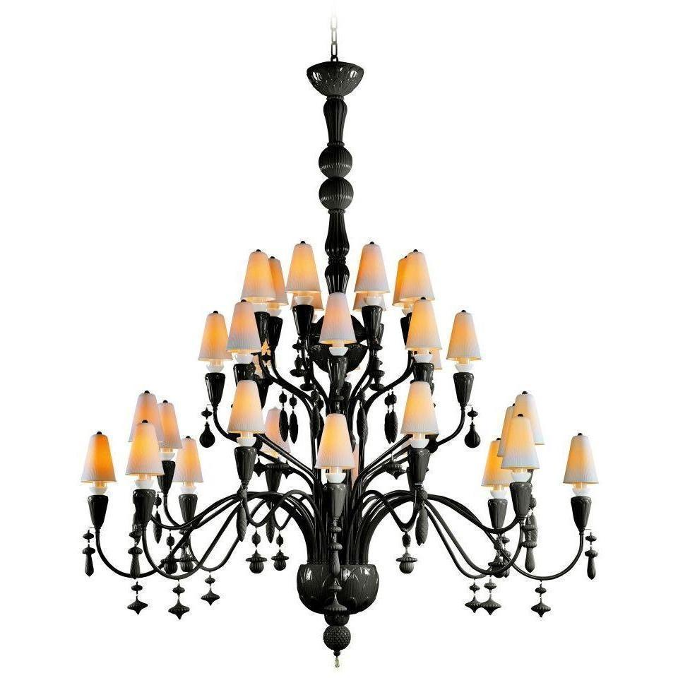 Lladro Ivy & Seed 32 Light Absolut Black Chandelier 01023851