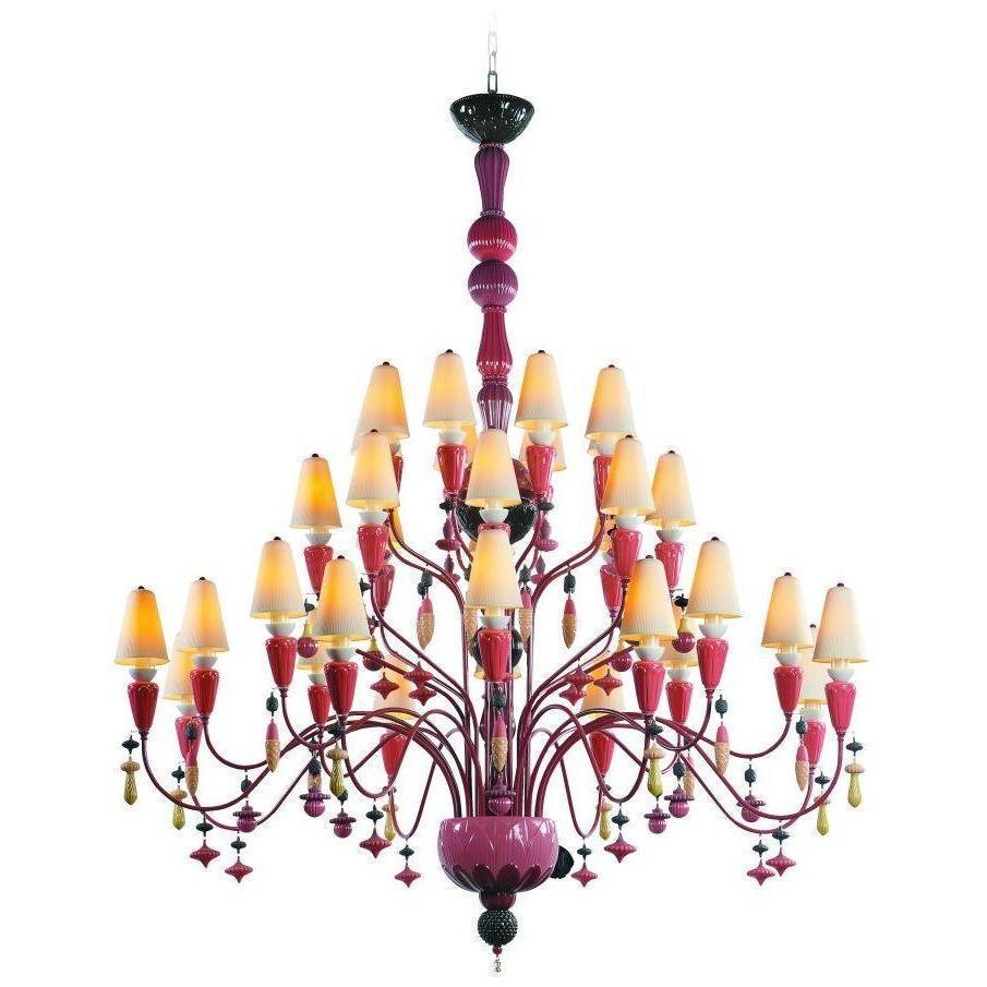 Lladro Ivy & Seed 32 Light Red Coral Chandelier 01023844