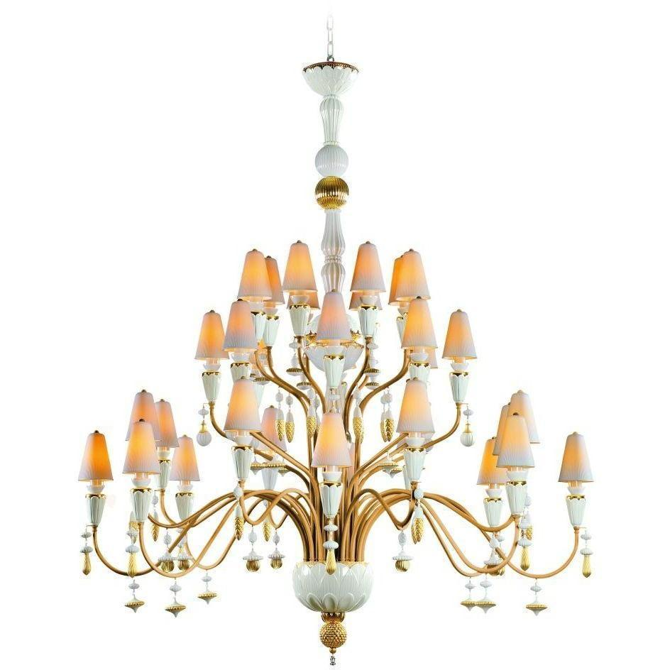 Lladro Ivy & Seed 32 Light White And Gold Chandelier 01023838