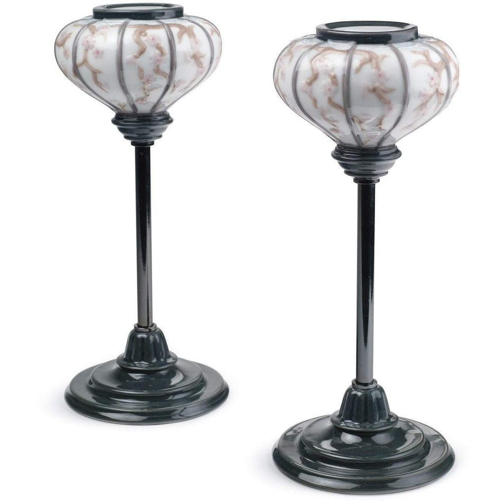 Lladro Japanese Lampstands Pair 01008454