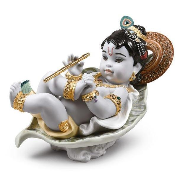 Lladro Krishna on Leaf Figurine 01009370