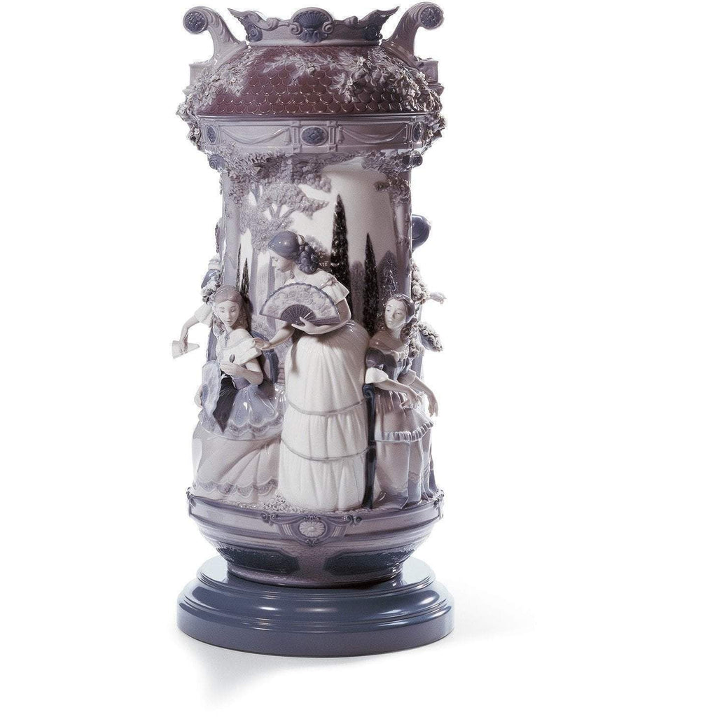 Lladro Ladies In The Garden Vase Grey Re Deco 01007033