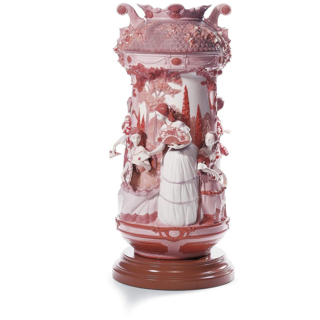 Lladro Ladies In The Garden Vase Red Re Deco 01007032