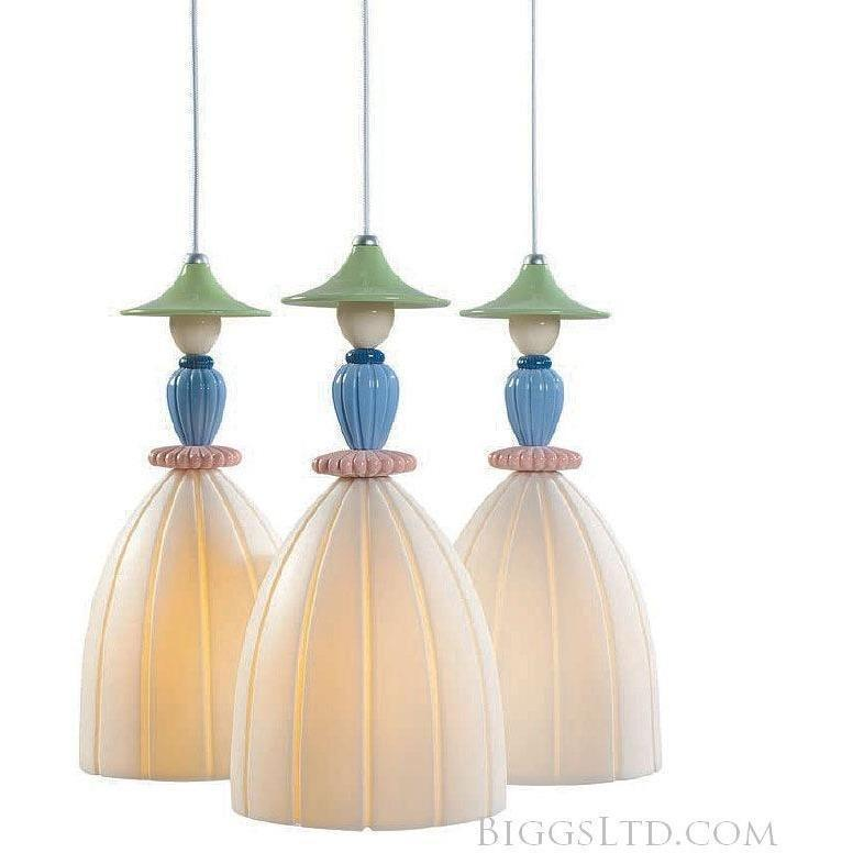 Lladro Mademoiselle Hanging Lamp 3 Light Sharing Secrets 01023552