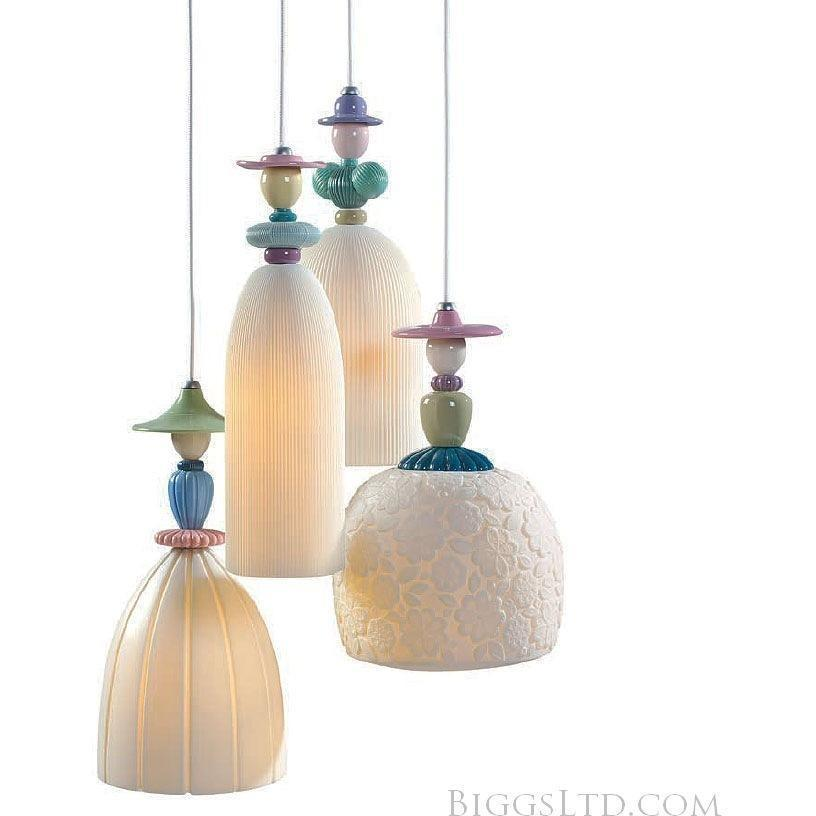 Lladro Mademoiselle Hanging Lamp 4 Light Walking On The Beach 01023555