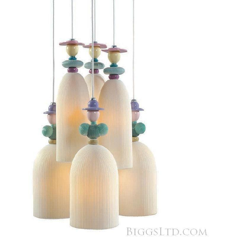 Lladro Mademoiselle Hanging Lamp 6 Light Gathering In The Lawn 01023558