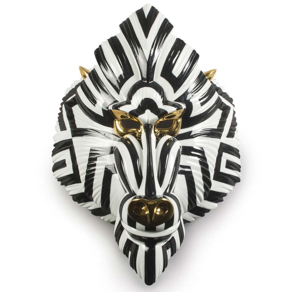 Lladro Mandrill Mask Black & Gold 01009405