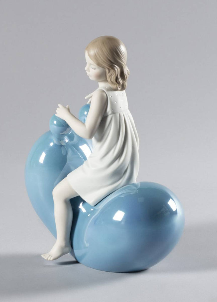 Lladro My Seesaw Balloon Girl Figurine Blue 01009368