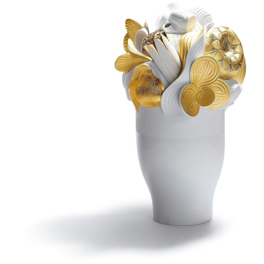Lladro Naturofantastic Large Vase Golden 01007903