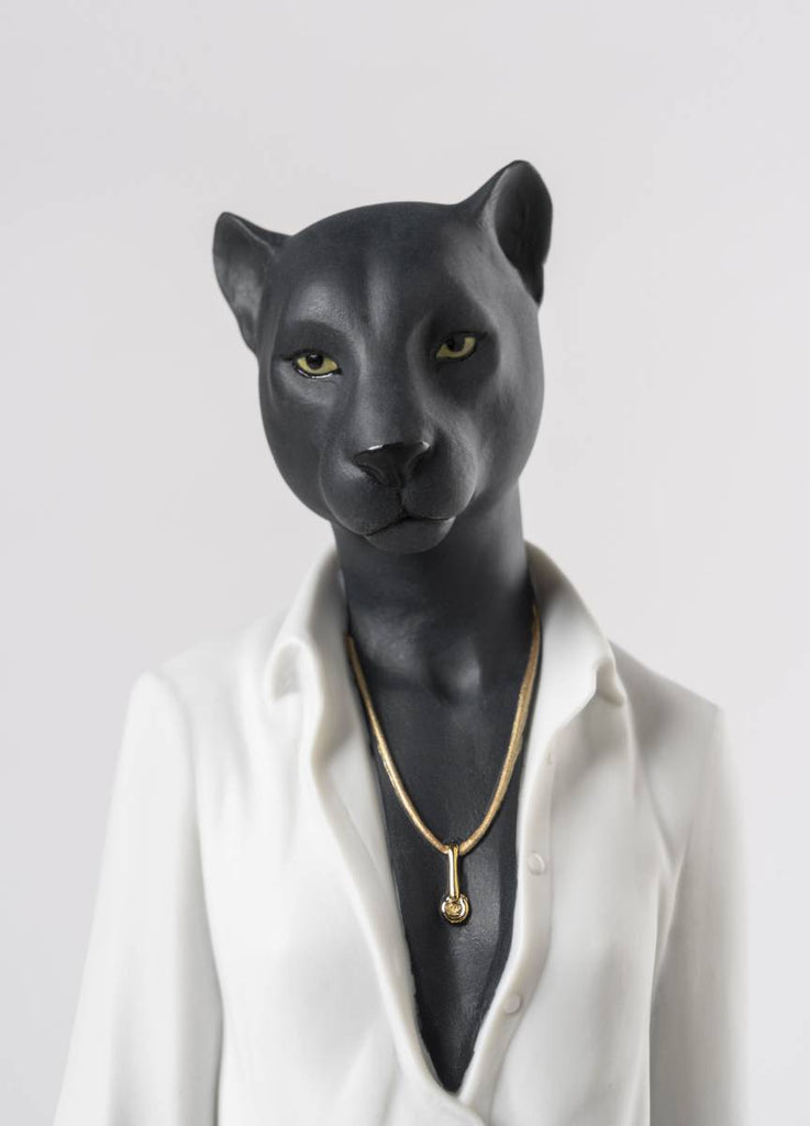 Lladro Panther Woman Figurine 01009428