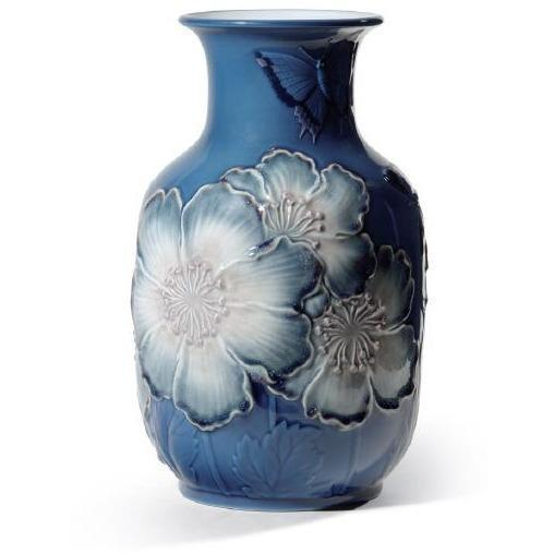 Lladro Poppy Flowers Tall Vase Bluee 01008649