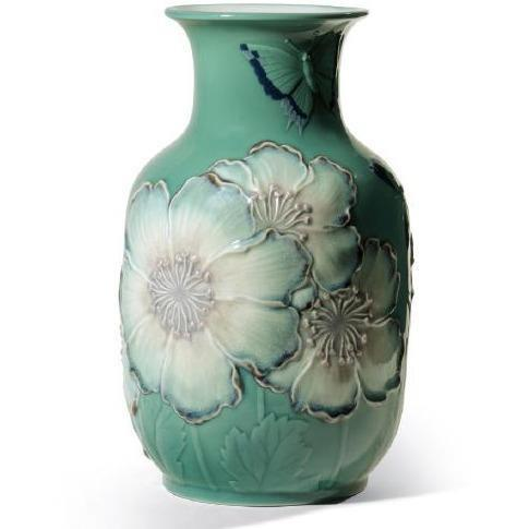 Lladro Poppy Flowers Tall Vase Green 01008648