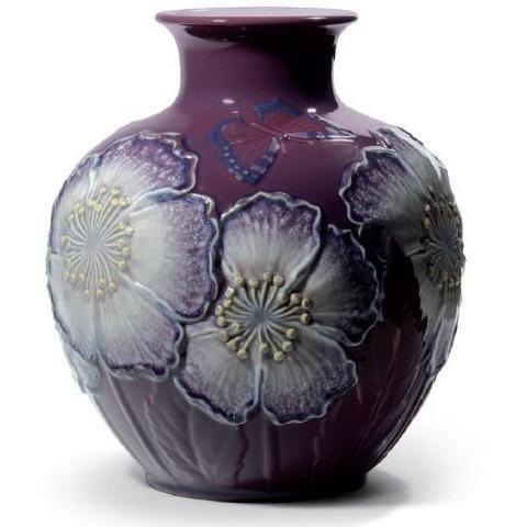 Lladro Poppy Flowers Vase Purple 01008621