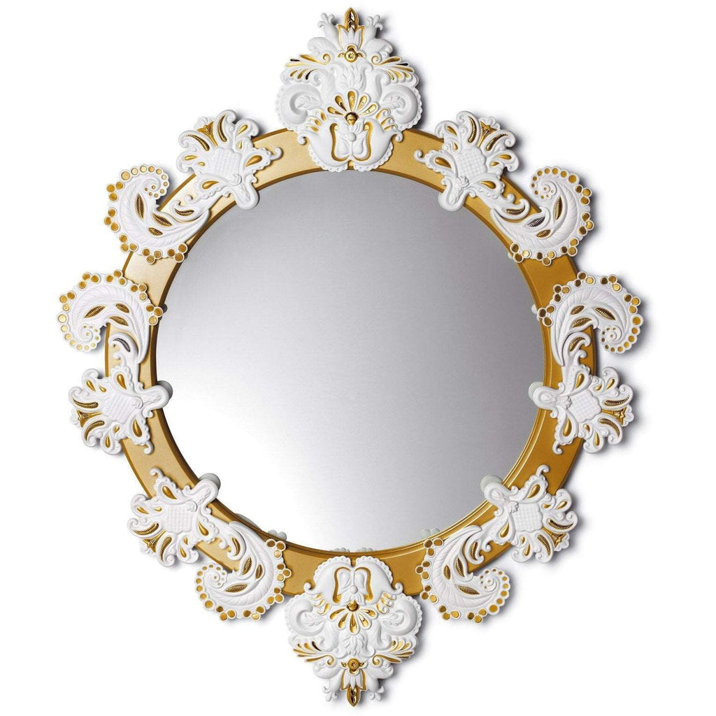 Lladro Round Mirror Small White Gold 01007786