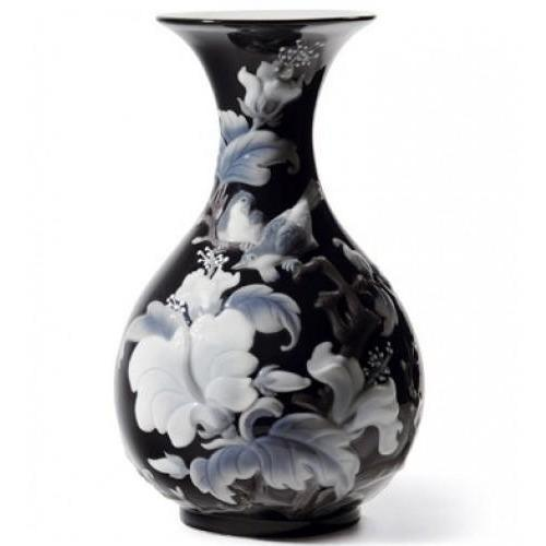 Lladro Sparrows Vase Black 01008726