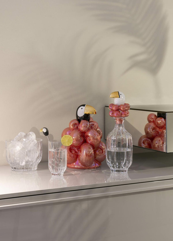 Lladro Toucan Crystal Glasses & Stirrers Set 01009465