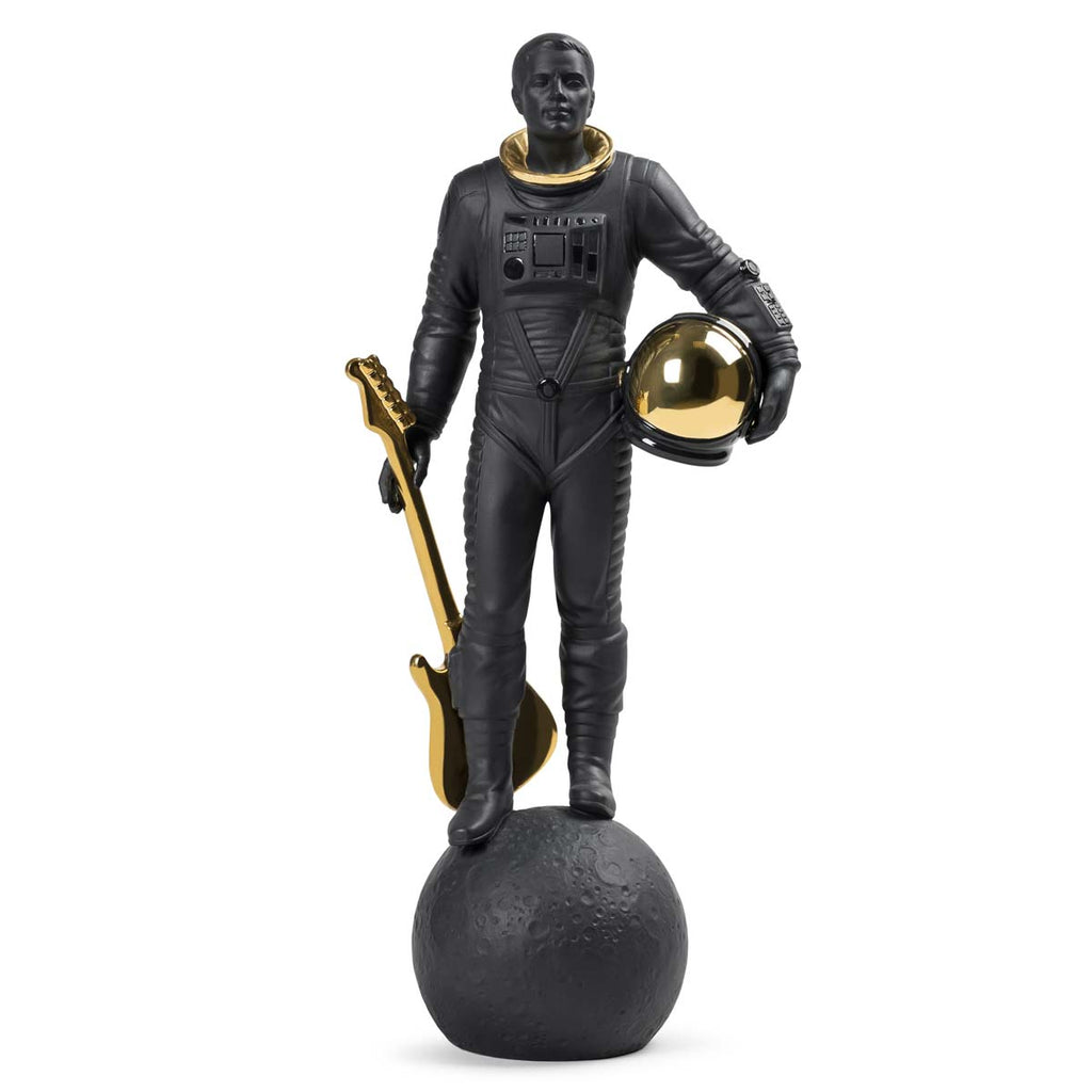 Lladro Walking On The Moon Figurine Black & Gold 01009409