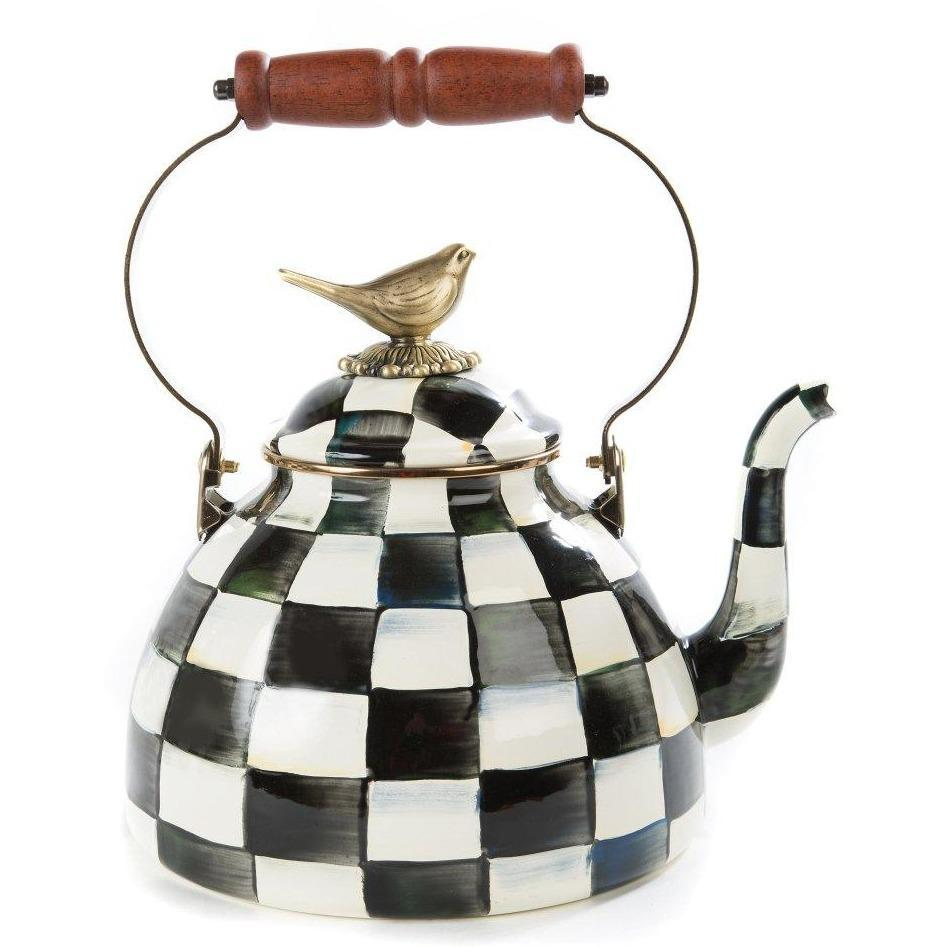 MacKenzie Childs Courtly Check 3 Qt Tea Kettle with Bird