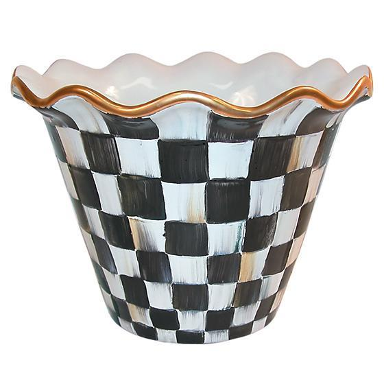 "MacKenzie Childs Courtly Check 8"" Flower Pot"