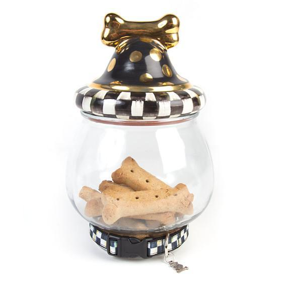 MacKenzie Childs Courtly Check Canine Cookie Jar