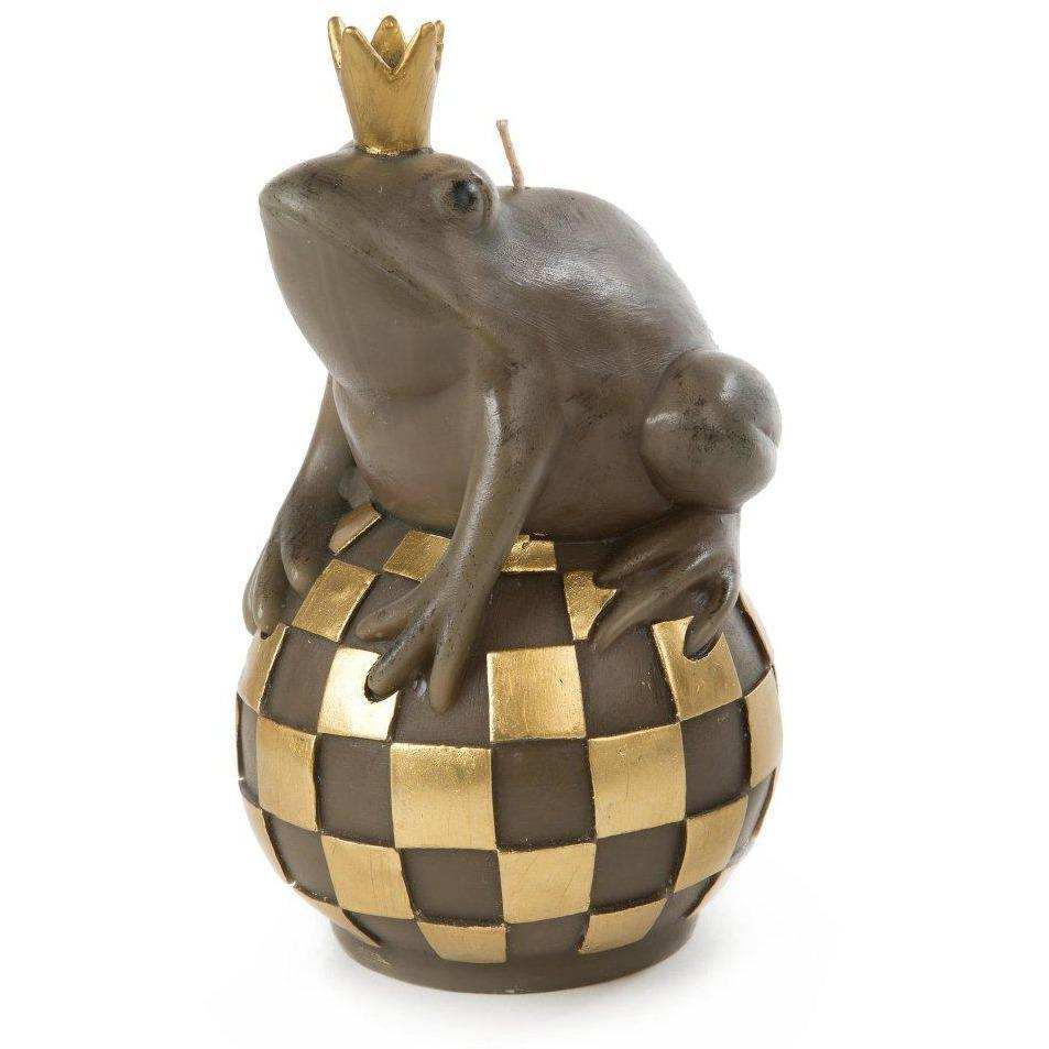 MacKenzie Childs Courtly Check Frog on Ball Candle