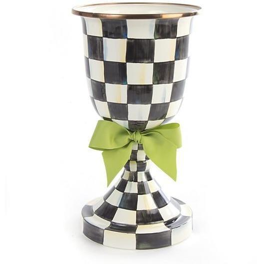 MacKenzie Childs Courtly Check Pedestal Vase