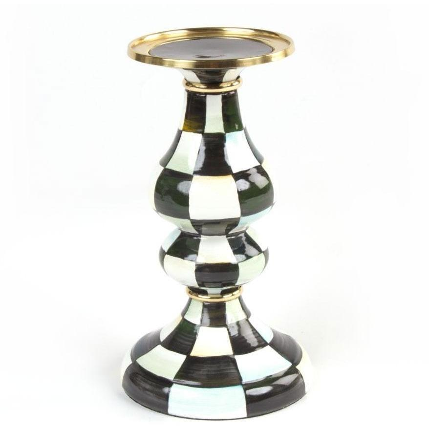 MacKenzie Childs Courtly Check Pillar Candlestick Medium