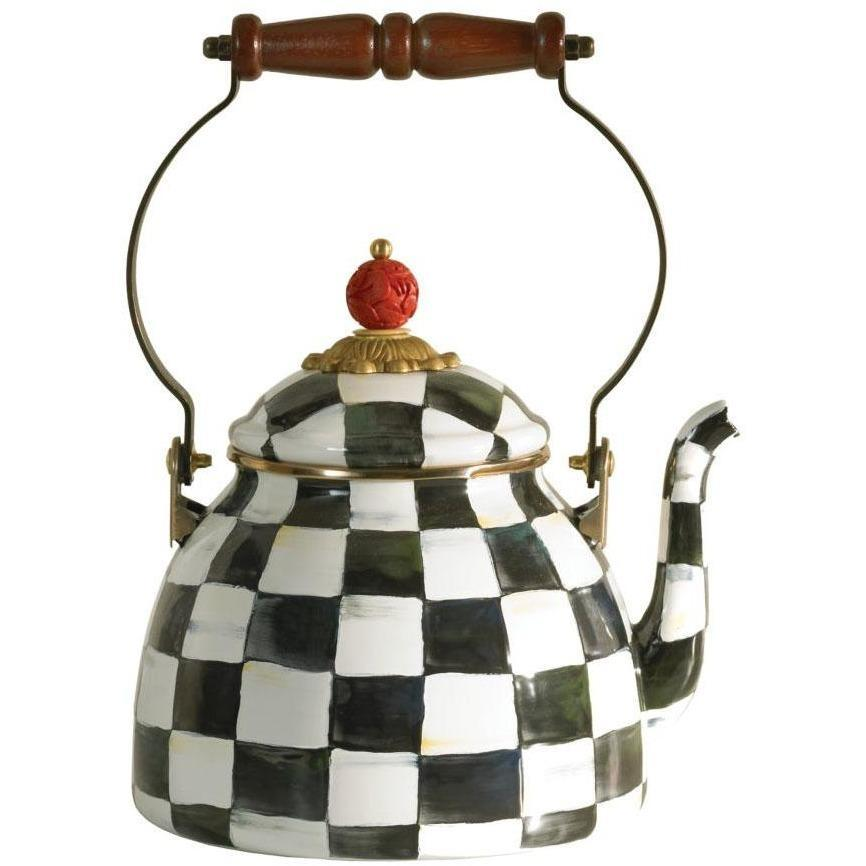 MacKenzie Childs Courtly Check Tea Kettle 2 QT
