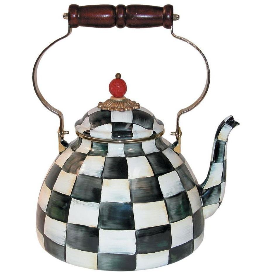 MacKenzie Childs Courtly Check Tea Kettle 3 QT