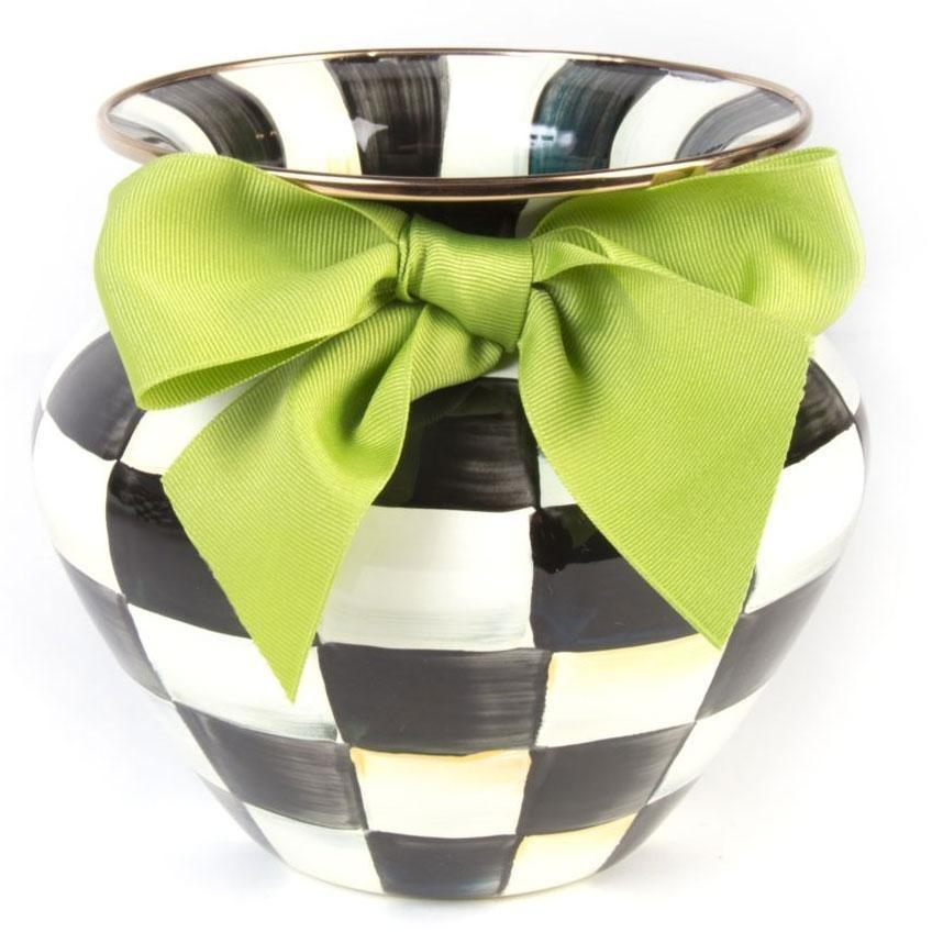 MacKenzie Childs Courtly Check Vase Green Bow