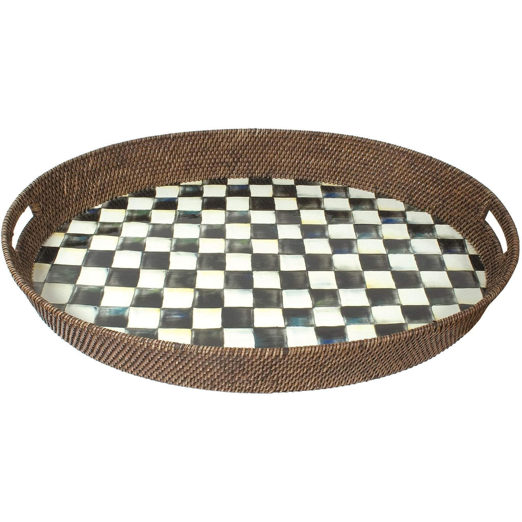 MacKenzie Childs Courty Check Rattan Tray