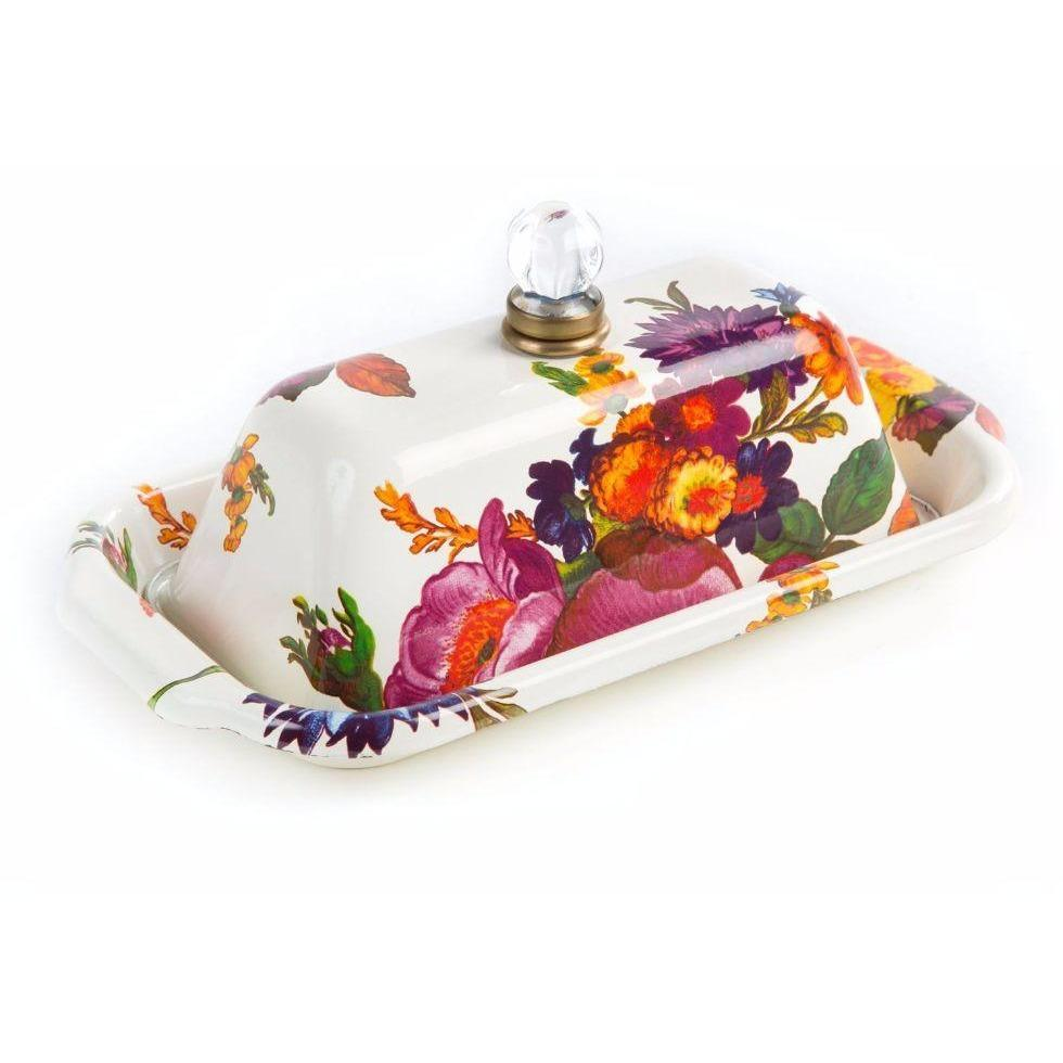 MacKenzie Childs Flower Market Butter Box White