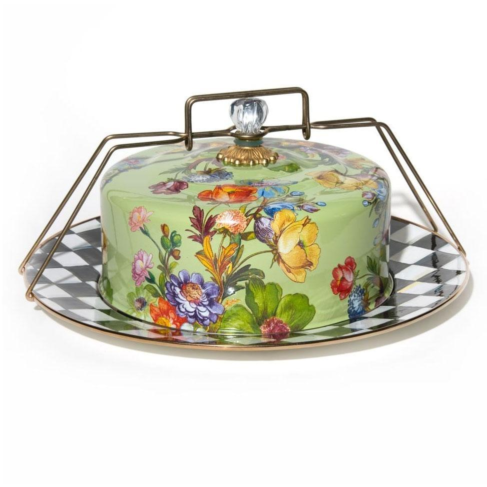 MacKenzie Childs Flower Market Cake Carrier Green