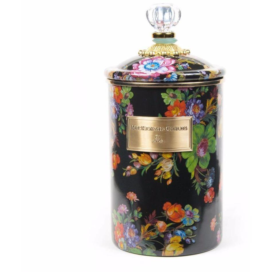 MacKenzie Childs Flower Market Canister Large Black