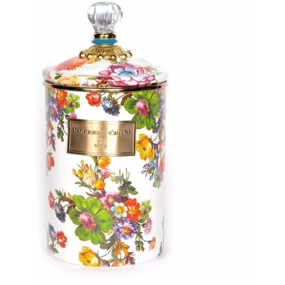 MacKenzie Childs Flower Market Canister Large White
