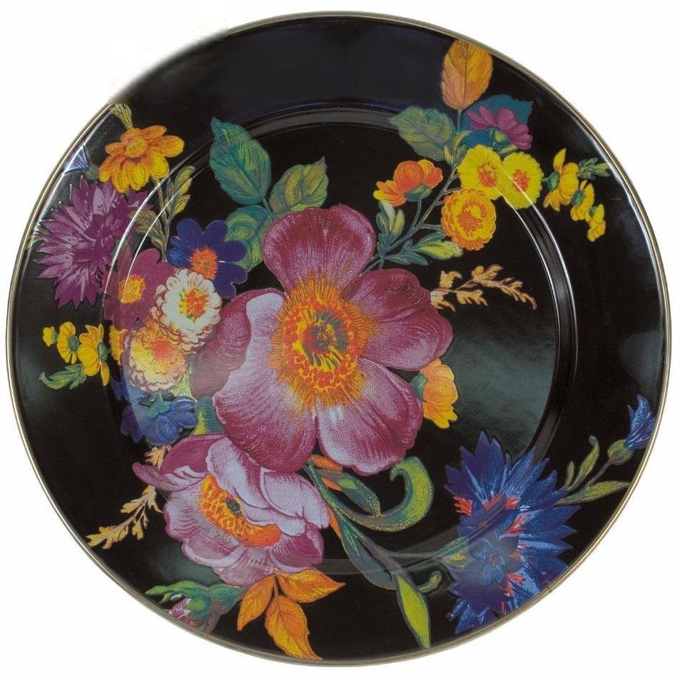 MacKenzie Childs Flower Market Charger Plate Black