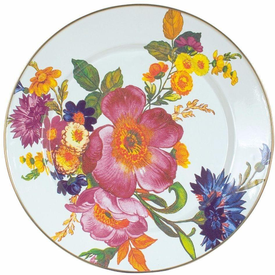 MacKenzie Childs Flower Market Charger Plate White