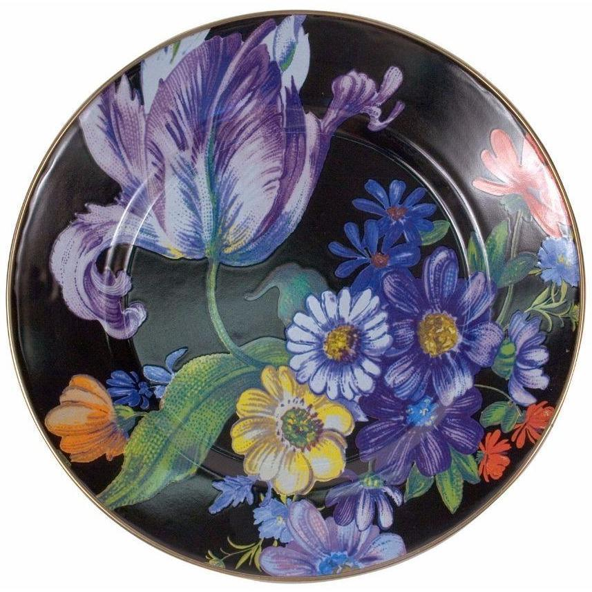 MacKenzie Childs Flower Market Dinner Plate Black