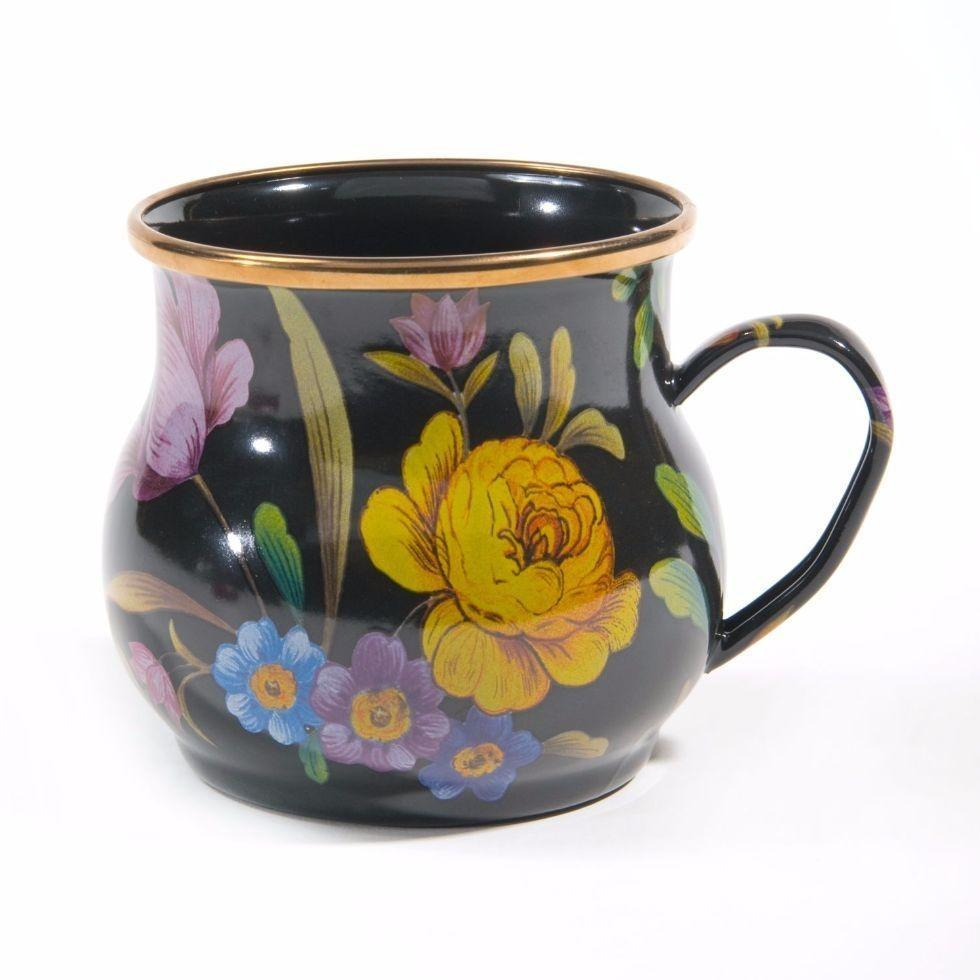 MacKenzie Childs Flower Market Mug Black