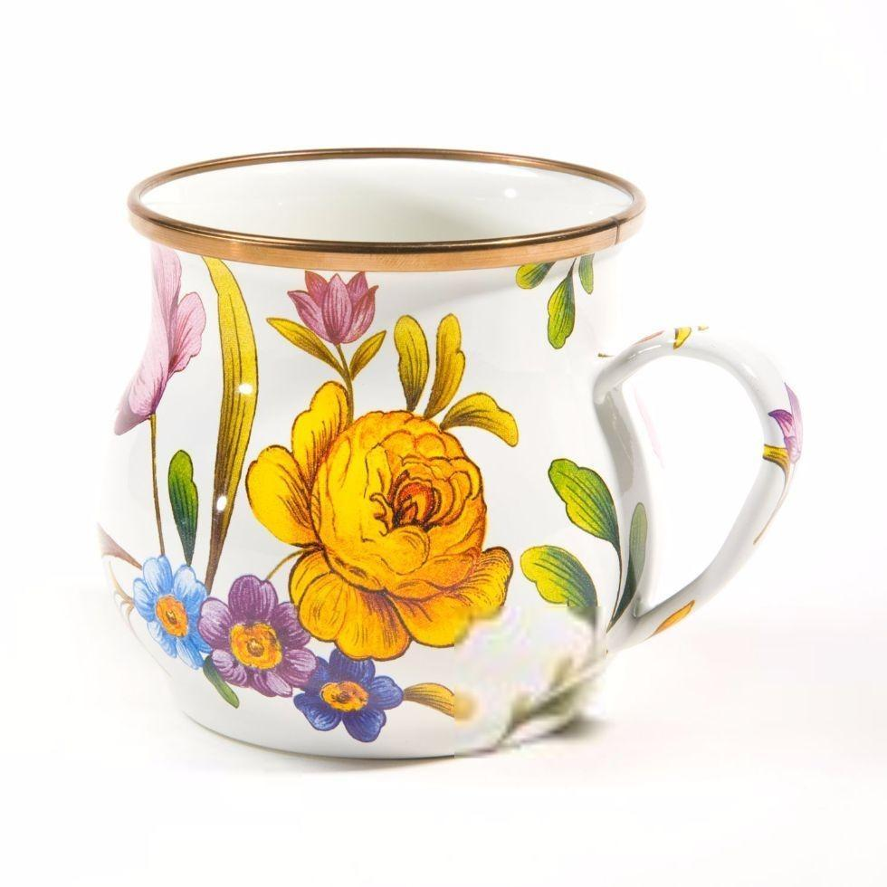 MacKenzie Childs Flower Market Mug White