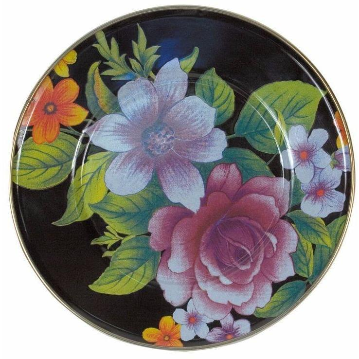 MacKenzie Childs Flower Market Salad Dessert Plate Black