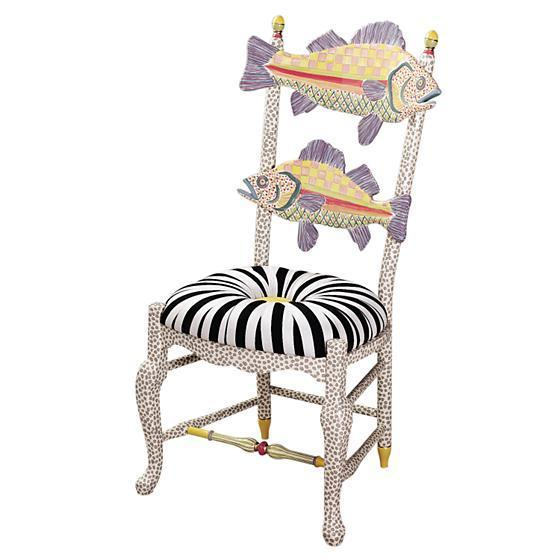 MacKenzie-Childs Freckled Fish Chair Black and White Seat