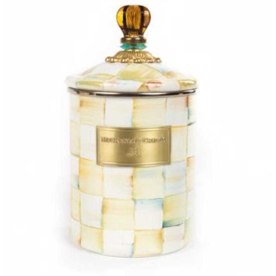 MacKenzie Childs Parchment Check Canister Medium