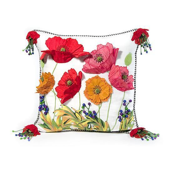 MacKenzie Childs Poppy Red Square Pillow