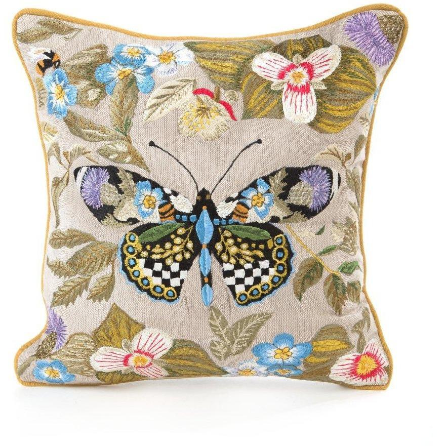 MacKenzie Childs Thistle & Bee Square Pillow Small